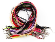 ALL in ONE Organza Ribbon Waxen Cord with Lobster Clasp Necklaces 43cm (17inch)