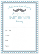 24 Cnt Little Moustache Blue Chevrons Fill-in Baby Shower Invitations