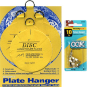 Flatirons Disc Set of Four 10cm Adhesive Plate Hangers and OOK Readynail 4.5kg. Picture Hooks (6 Hooks in Package) - Bundle of 2 Items