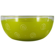 Yellow Textured Curl and Dot Hand Painted Glass Serving Bowl 28cm