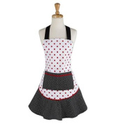 70cm White, Red and Black Polka Dotted Women's Kitchen Apron w/ Large Front Pocket