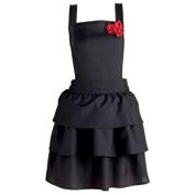 80cm Vintage Style Solid Black Floral Red Rose Embellished Women's Kitchen Apron