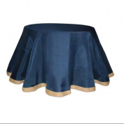 Seaside Treasures Navy Blue Table Cloth with Beige Jute Edge 240cm D