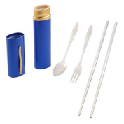Stainless Steel Screw Connector Spoon Chopsticks Fork Set w Plastic Case