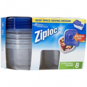 Ziploc Container with One Press Seal, Extra Small Square, 8 count