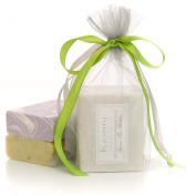 ORGANIC HANDMADE SOAP GIFT SET - ALL NATURAL - Scented w/ Pure Aromatherapy Grade Essential Oils - 2 Full Size Bars (Green Tea Goddess & Luscious Lavender) Comes Wrapped in a Lovely Organza Bag