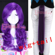 Lemail wig Rainbow Tails Dash Hair Fall Tie on Clip Ponytail +Cosplay Wig Twilight