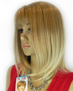 THZ Women's Medium Size Blonde Colour Straight Oblique Bangs Heat-resisit Cosplay Full Hair Wigs