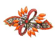 Beyend Orange Women's Vintage Crystal Bowknot Hair Clip Head Wear BE-02