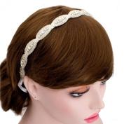 Wedding Bride Rhinestone Lined Headband Bridal Ribbon Hair Band