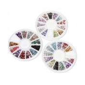 BMC 500pc 3 Wheels Mixed Colours Acrylic Nail Art Multi Decorations Studs - Set 1