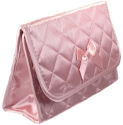 Cosmetic Bag with a Mirror, Large Size, Satin Pink
