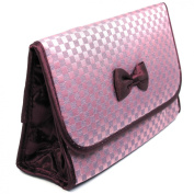Cosmetic Bag with a Mirror, Large Size, Satin Small Chequered Purple