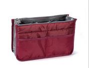 Annie Queen Travel Makeup Insert Handbag Organiser Tidy Cosmetic Pocket Purse Zipper Bag Toiletry Bags,Dark Red