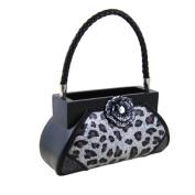 Rose Gem Leopard Print Handbag Makeup Brush Holder Silver