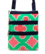 Geometric Small Hipster Cross Body Swing Pack Messenger Handbag Green & Pink