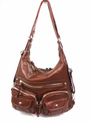 Zzfab Women's Fashion 3-way Handbag Brown/wine Colour Satchel Bag Back Pack