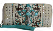 Western Rhinestone Cross Turquoise Cowgirl Clutch Wallet Purse