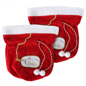 Set of 2 Santa's Large Fabric Christmas Gift Bags By Arad