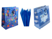 Set of 6 Large Hanukkah Gift Bags with Gift Tissue