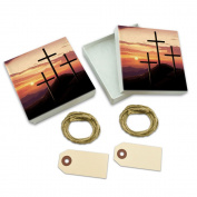 Three Crosses on Hill White Gift Boxes Set of 2
