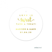 Andaz Press Personalised Round Circle Wedding Gift Tags, Metallic Gold Ink, Love is Sweet Take a Treat, 24-Pack, Custom Made Any Name, Not Gold Foil