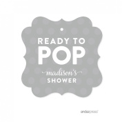 Andaz Press Ready to Pop Baby Shower Collection, Personalised Fancy Frame Gift Tags, Grey, 24-Pack, Custom Name
