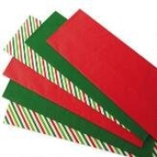 Christmas Tissue Paper ~ Solid Red, Solid Green & Christmas Stripes 18 Sheets