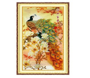 Cross Stitch Kit, Magnolia Peacock 124x69cm. DIY Needlework Handmade Embroidery Home Room Decor