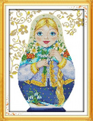"NKF Cross Stitch Kit, Russian doll (7),14CT Counted,28cmX39cm or 10.92""X15.21"""