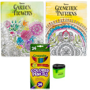 Crayola Coloured Pencils (24), Prismacolor Pencil Sharpener, and 2 Adult Colouring Books (Garden Flowers and Geometric Patterns), Bundle of 4 Items