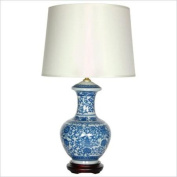 Oriental Furniture 60cm Round Vase Lamp in Blue and White
