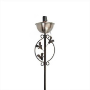160cm Brushed Copper Floral Motif Garden Oil Lamp Outdoor Patio Torch