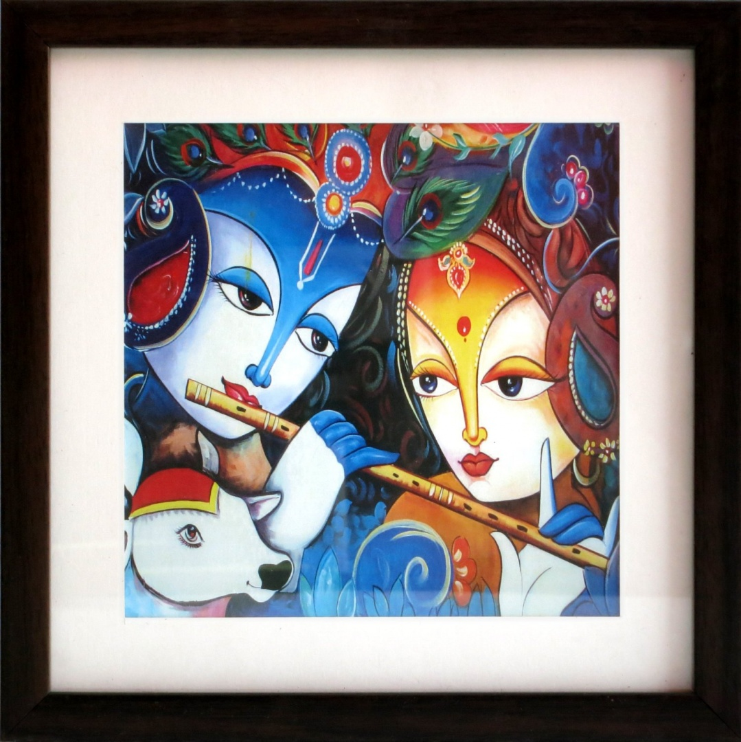 Lord Radha Krishna Enjoying with Hindu Religious Cow, Poster Painting with  Framing for Home Decoration and Gift Purpose