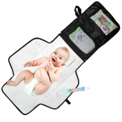 Mom's Besty™ Baby Change Pad - Portable Nappy Changing Station for Travel and Home - Neutral, Black with BONUS Pacifier Holder Clip