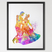 Dignovel Studios 8X10 Cinderella Dancing with Prince Disney Princess Watercolour Art Print Wall Art Home Decor Wall Hanging Girls Room Art Wedding Gift N387