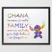 Dignovel Studios 8X10 STITCH Quote from Lilo and Stitch inspired OHANA Watercolour illustrations Art Print Giclee Wall Decor Art Home Decor Wall Hanging N275