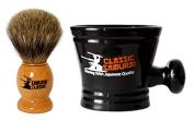 Classic Samurai Men Premium Shaving Set - 100% Pure Badger Shaving Brush and Classic Samurai Porcelain Shaving Mug