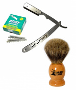 Classic Samurai Men Premium Shaving Set with CS-102 Stainless Steel Professional Barber Straight Edge Razor with 100 Count Derby Single Edge Razor Blades and 100% Pure Badger Shaving Brush