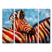 All My Walls 'Zebra Baby' by Claude Marshall 3 Piece Painting Print Plaque Set