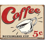 Bottomless Coffee Cup Tin Sign Multi-Coloured