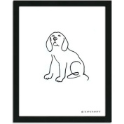 Personal-Prints Beagle Dog Line Drawing Framed Art