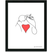 Personal-Prints The Kiss Line Drawing Framed Art