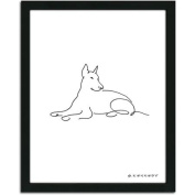 Personal-Prints Doberman Dog Line Drawing Framed Art