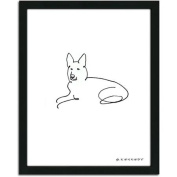 Personal-Prints German Shepherd Dog Line Drawing Framed Art