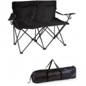 Trademark Innovations Loveseat Style Double Camp Chair with Steel Frame, Black, 80cm H