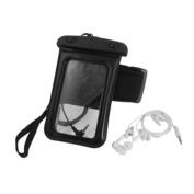 Plastic Water Resistant Bag Pouch Black w Armband Earphone for iPhone 4 4S