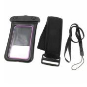 Sports Water Resistant Bag Holder Black Pink + Neck Strap for iPhone 4 4S