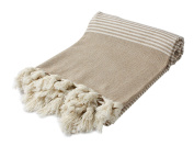 Hand Loomed Pestemal Striped Turkish Bath Towel 34x66 %100 CottonTM by Cacala Beige