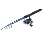 Foam Coated Handle Blue Telescopic Fishing Rod 2M 6.56Ft w 5.2:1 Spinning Reel